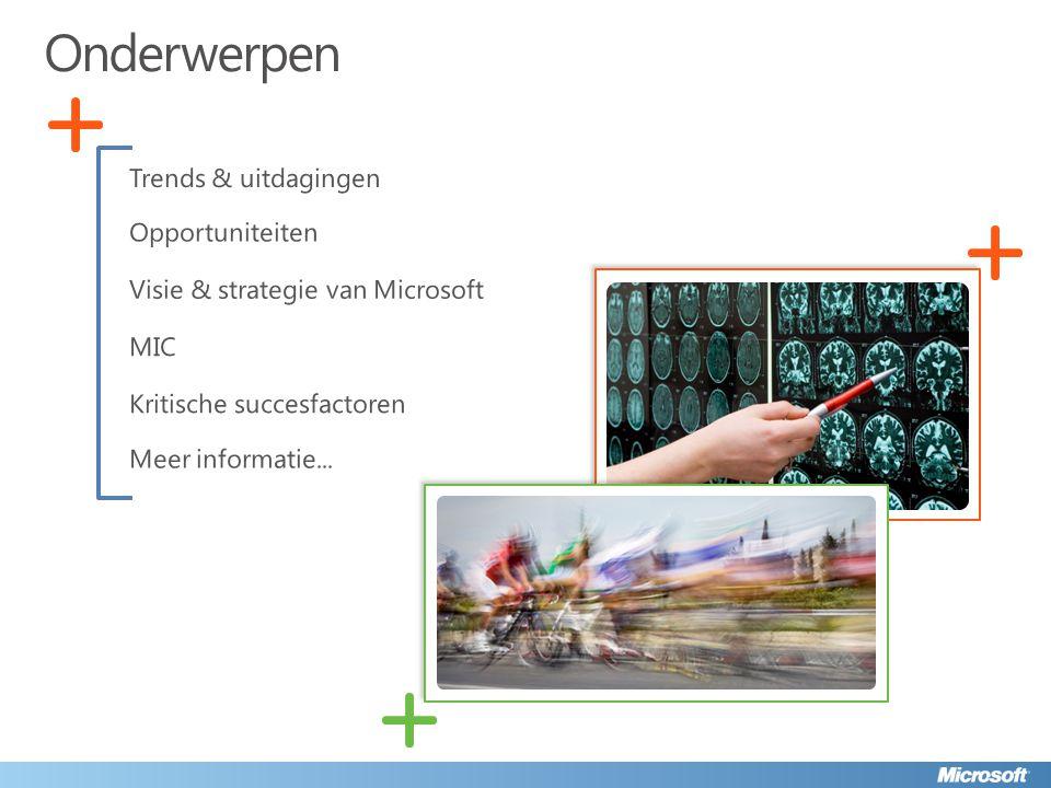 Trends & uitdagingen Opportuniteiten Visie & strategie van Microsoft MIC Kritische succesfactoren Onderwerpen Meer informatie...