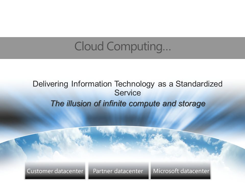Opportuniteiten van Cloud Computing My information everywhere New ways to connect to friends, family, and colleagues New lifestyle options Entertainment on my terms Business IT with no limits New ways to address customers Democratization of IT New competitive advantages Performing IT more cheaply New market segments and geographies New business opportunities Competing regardless of size Doing new things in new ways