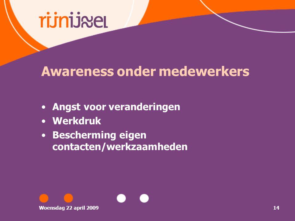 Woensdag 22 april 200914 Awareness onder medewerkers Angst voor veranderingen Werkdruk Bescherming eigen contacten/werkzaamheden