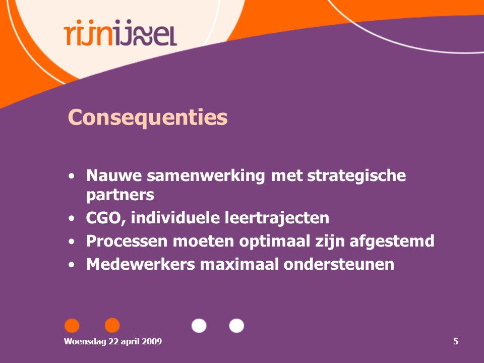 Woensdag 22 april 20095 Consequenties Nauwe samenwerking met strategische partners CGO, individuele leertrajecten Processen moeten optimaal zijn afgestemd Medewerkers maximaal ondersteunen