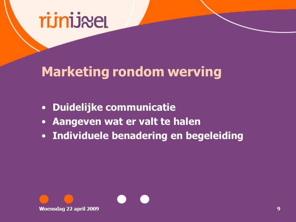 Woensdag 22 april 20099 Marketing rondom werving Duidelijke communicatie Aangeven wat er valt te halen Individuele benadering en begeleiding