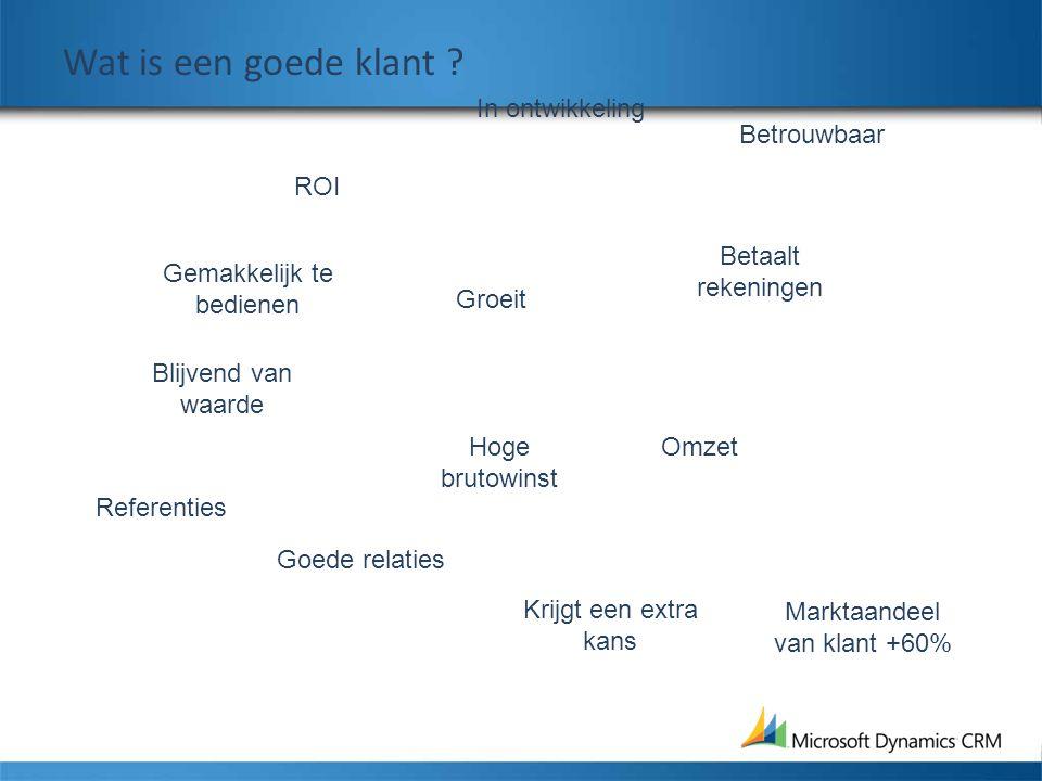 Gemakkelijk te bedienen Blijvend van waarde ROI Hoge brutowinst In ontwikkeling Referenties Marktaandeel van klant +60% Goede relaties Omzet Betaalt r