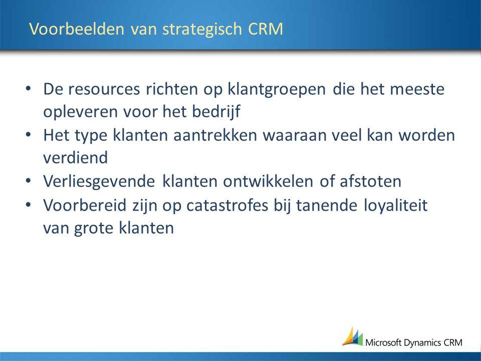 Voorbeelden van strategisch CRM De resources richten op klantgroepen die het meeste opleveren voor het bedrijf Het type klanten aantrekken waaraan veel kan worden verdiend Verliesgevende klanten ontwikkelen of afstoten Voorbereid zijn op catastrofes bij tanende loyaliteit van grote klanten