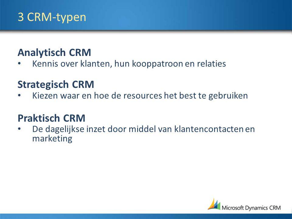 3 CRM-typen Analytisch CRM Kennis over klanten, hun kooppatroon en relaties Strategisch CRM Kiezen waar en hoe de resources het best te gebruiken Praktisch CRM De dagelijkse inzet door middel van klantencontacten en marketing