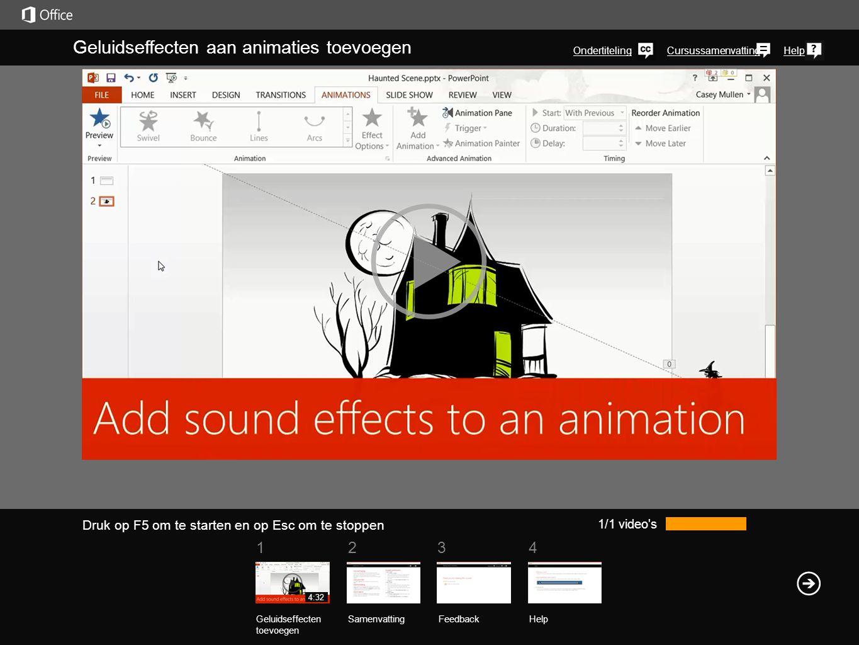 1234 CursussamenvattingHelp Geluidseffecten aan animaties toevoegen Ondertiteling 1/1 video's Geluidseffecten toevoegen SamenvattingFeedback Help 4:32