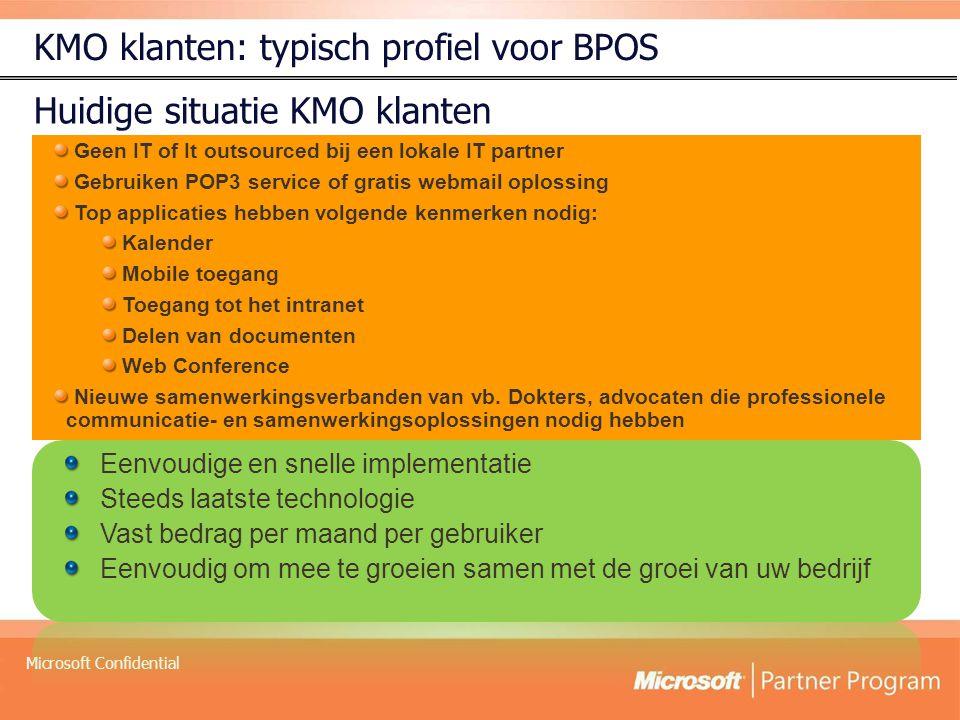 Microsoft Confidential Geen IT of It outsourced bij een lokale IT partner Gebruiken POP3 service of gratis webmail oplossing Top applicaties hebben vo