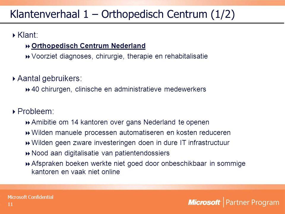 Microsoft Confidential Klantenverhaal 1 – Orthopedisch Centrum (1/2)  Klant:  Orthopedisch Centrum Nederland  Voorziet diagnoses, chirurgie, therap