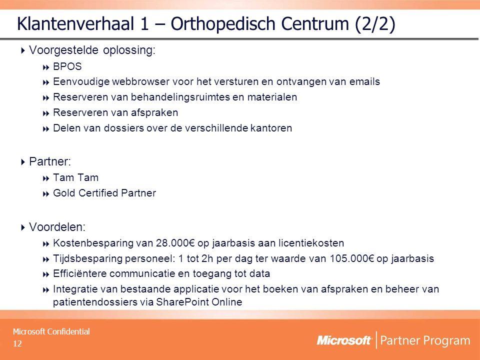 Microsoft Confidential Klantenverhaal 1 – Orthopedisch Centrum (2/2)  Voorgestelde oplossing:  BPOS  Eenvoudige webbrowser voor het versturen en on