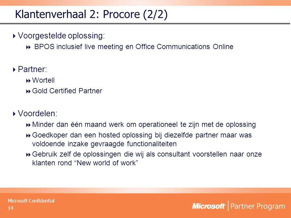 Microsoft Confidential  Voorgestelde oplossing:  BPOS inclusief live meeting en Office Communications Online  Partner:  Wortell  Gold Certified P
