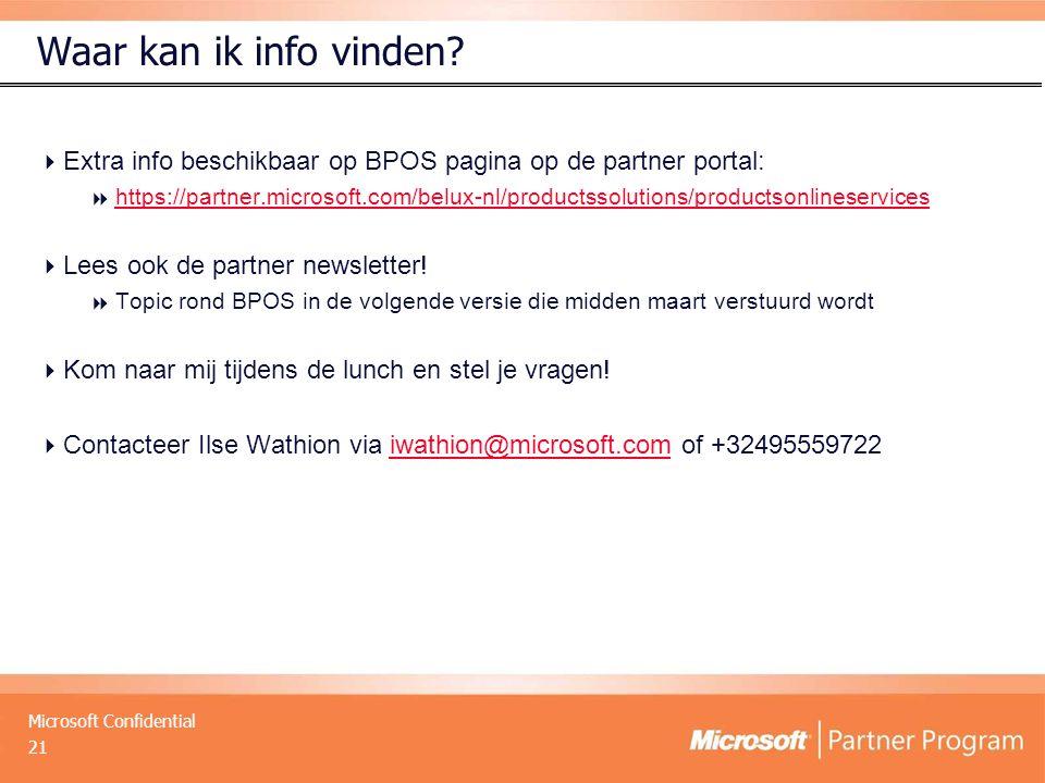Microsoft Confidential Waar kan ik info vinden?  Extra info beschikbaar op BPOS pagina op de partner portal:  https://partner.microsoft.com/belux-nl