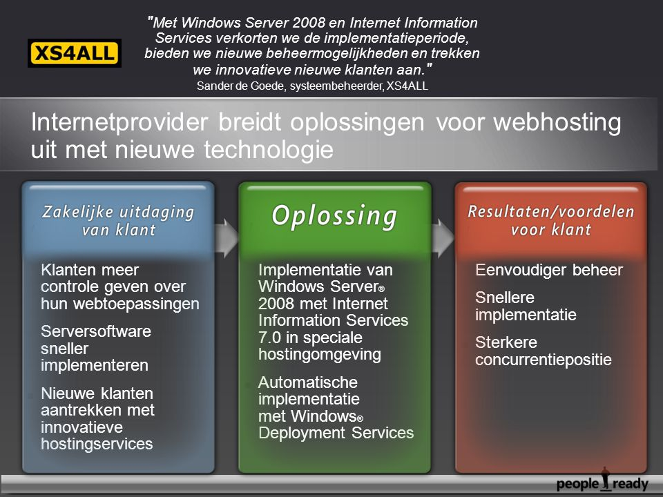Eenvoudiger beheer Snellere implementatie Sterkere concurrentiepositie Implementatie van Windows Server ® 2008 met Internet Information Services 7.0 i