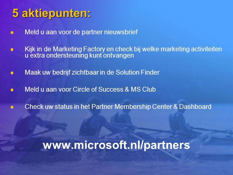 5 aktiepunten: Meld u aan voor de partner nieuwsbrief Kijk in de Marketing Factory en check bij welke marketing activiteiten u extra ondersteuning kun