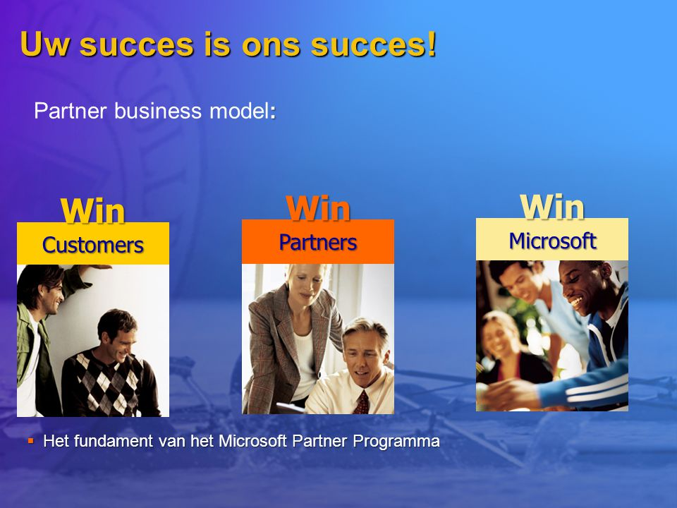Uw succes is ons succes!  Het fundament van het Microsoft Partner Programma CustomersWin PartnersWin MicrosoftWin : Partner business model: