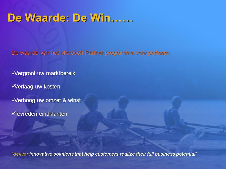 De Waarde: De Win…… De waarde van het Microsoft Partner programma voor partners: Vergroot uw marktbereik Vergroot uw marktbereik Verlaag uw kosten Ver