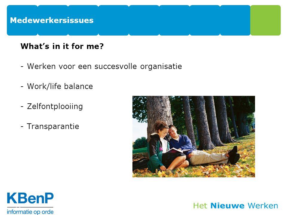 Medewerkersissues What's in it for me? -Werken voor een succesvolle organisatie -Work/life balance -Zelfontplooiing -Transparantie 12