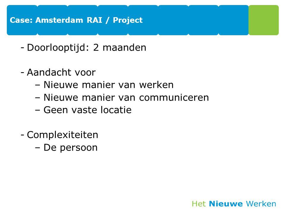 Case: Amsterdam RAI / Project -Doorlooptijd: 2 maanden -Aandacht voor –Nieuwe manier van werken –Nieuwe manier van communiceren –Geen vaste locatie -Complexiteiten –De persoon