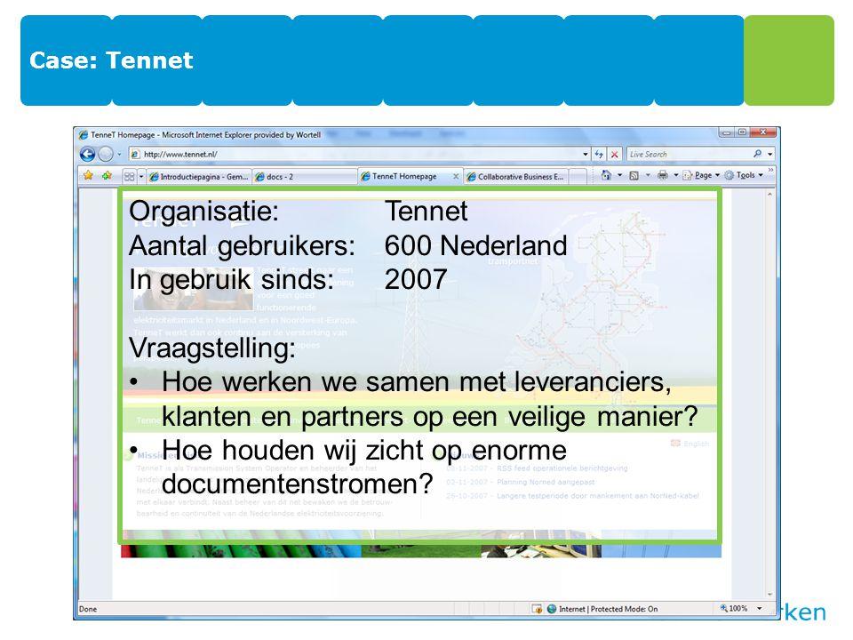 Case: Tennet Organisatie:Tennet Aantal gebruikers:600 Nederland In gebruik sinds:2007 Vraagstelling: Hoe werken we samen met leveranciers, klanten en partners op een veilige manier.