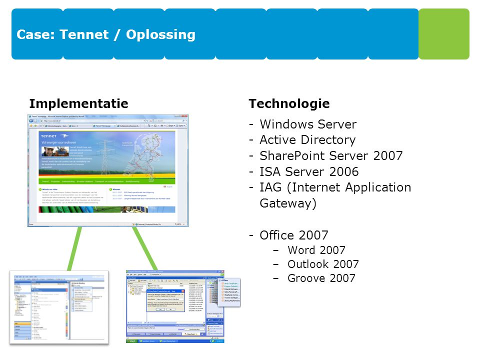 Case: Tennet / Oplossing ImplementatieTechnologie -Windows Server -Active Directory -SharePoint Server 2007 -ISA Server 2006 -IAG (Internet Applicatio