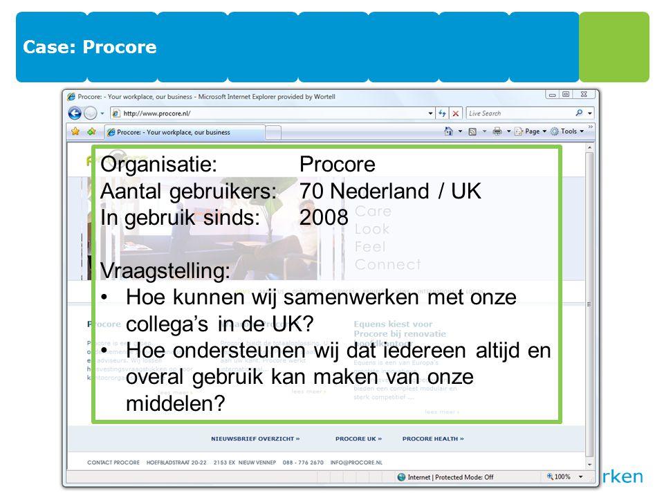 Case: Procore Organisatie:Procore Aantal gebruikers:70 Nederland / UK In gebruik sinds:2008 Vraagstelling: Hoe kunnen wij samenwerken met onze collega's in de UK.