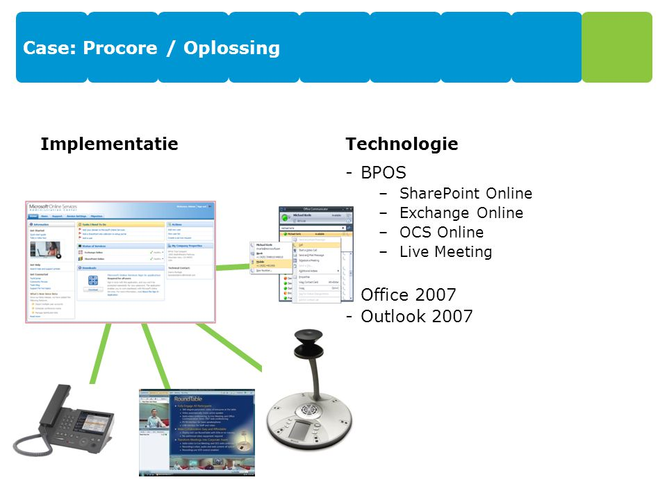 Case: Procore / Oplossing ImplementatieTechnologie -BPOS –SharePoint Online –Exchange Online –OCS Online –Live Meeting -Office 2007 -Outlook 2007
