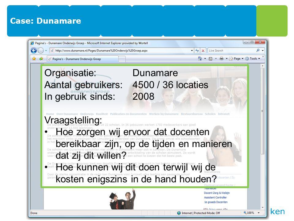 Case: Dunamare Organisatie:Dunamare Aantal gebruikers:4500 / 36 locaties In gebruik sinds:2008 Vraagstelling: Hoe zorgen wij ervoor dat docenten bereikbaar zijn, op de tijden en manieren dat zij dit willen.