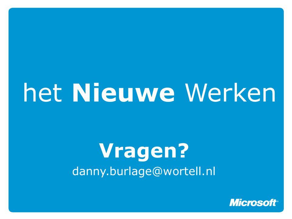 het Nieuwe Werken Vragen? danny.burlage@wortell.nl