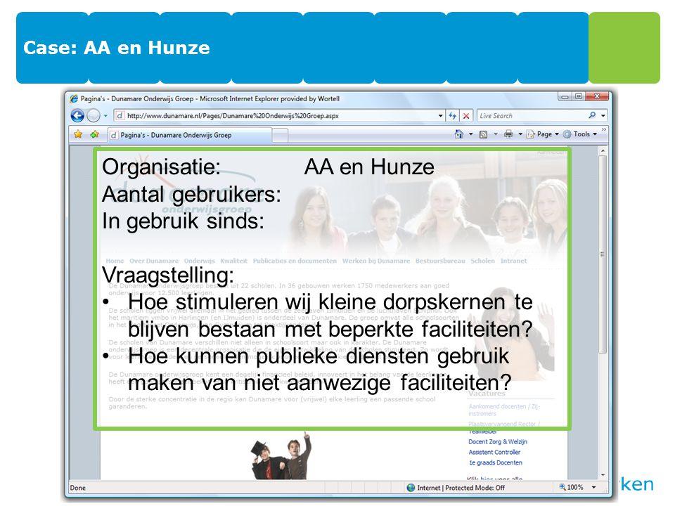 Case: AA en Hunze Organisatie:AA en Hunze Aantal gebruikers: In gebruik sinds: Vraagstelling: Hoe stimuleren wij kleine dorpskernen te blijven bestaan met beperkte faciliteiten.