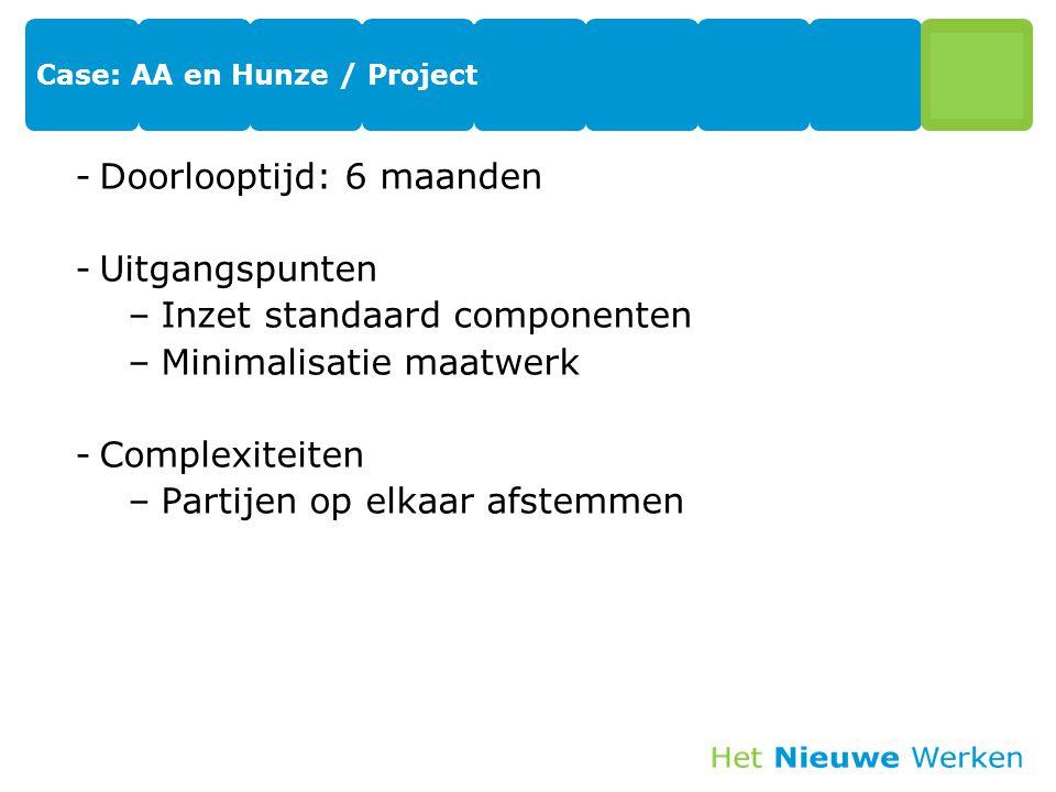 Case: AA en Hunze / Project -Doorlooptijd: 6 maanden -Uitgangspunten –Inzet standaard componenten –Minimalisatie maatwerk -Complexiteiten –Partijen op elkaar afstemmen