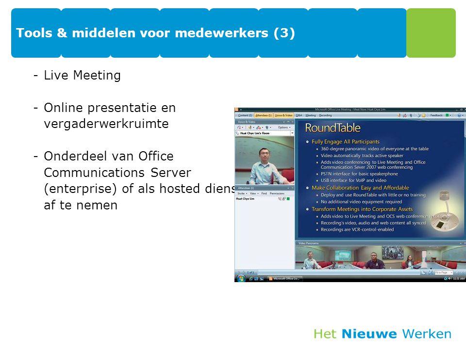 Tools & middelen voor medewerkers (3) -Live Meeting -Online presentatie en vergaderwerkruimte -Onderdeel van Office Communications Server (enterprise) of als hosted dienst af te nemen 42