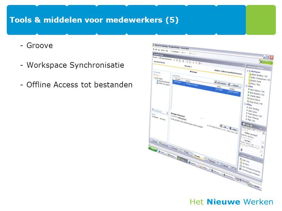 Tools & middelen voor medewerkers (5) -Groove -Workspace Synchronisatie -Offline Access tot bestanden 44