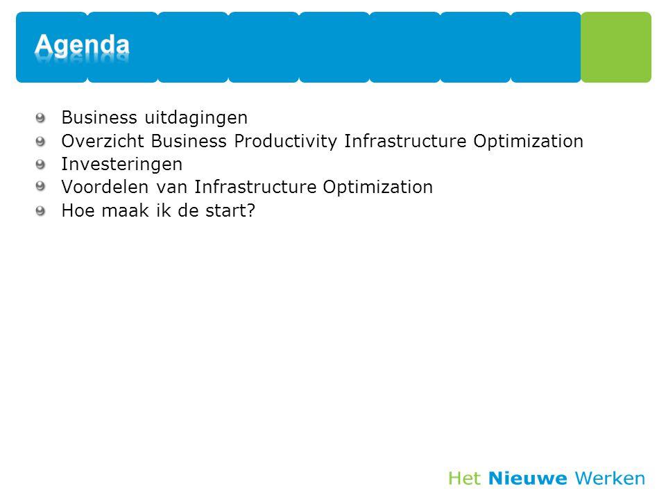 Business uitdagingen Overzicht Business Productivity Infrastructure Optimization Investeringen Voordelen van Infrastructure Optimization Hoe maak ik d