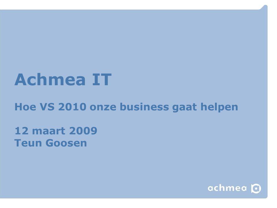 Microsoft binnen Achmea Strategisch platform (Naast Siebel, SAP, Websphere/J2EE) Ontwikkeling en applicatiebeheer vindt plaats in 10 teams Gelijktijdig 10-20 projecten >200 ontwikkelaars, neemt af