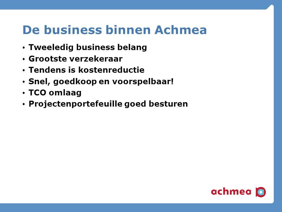 De business binnen Achmea Tweeledig business belang Grootste verzekeraar Tendens is kostenreductie Snel, goedkoop en voorspelbaar.