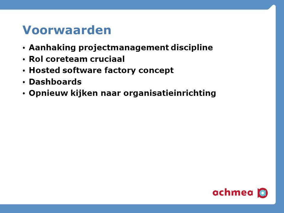 Voorwaarden Aanhaking projectmanagement discipline Rol coreteam cruciaal Hosted software factory concept Dashboards Opnieuw kijken naar organisatieinrichting