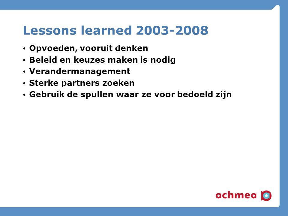 Lessons learned 2003-2008 Opvoeden, vooruit denken Beleid en keuzes maken is nodig Verandermanagement Sterke partners zoeken Gebruik de spullen waar ze voor bedoeld zijn