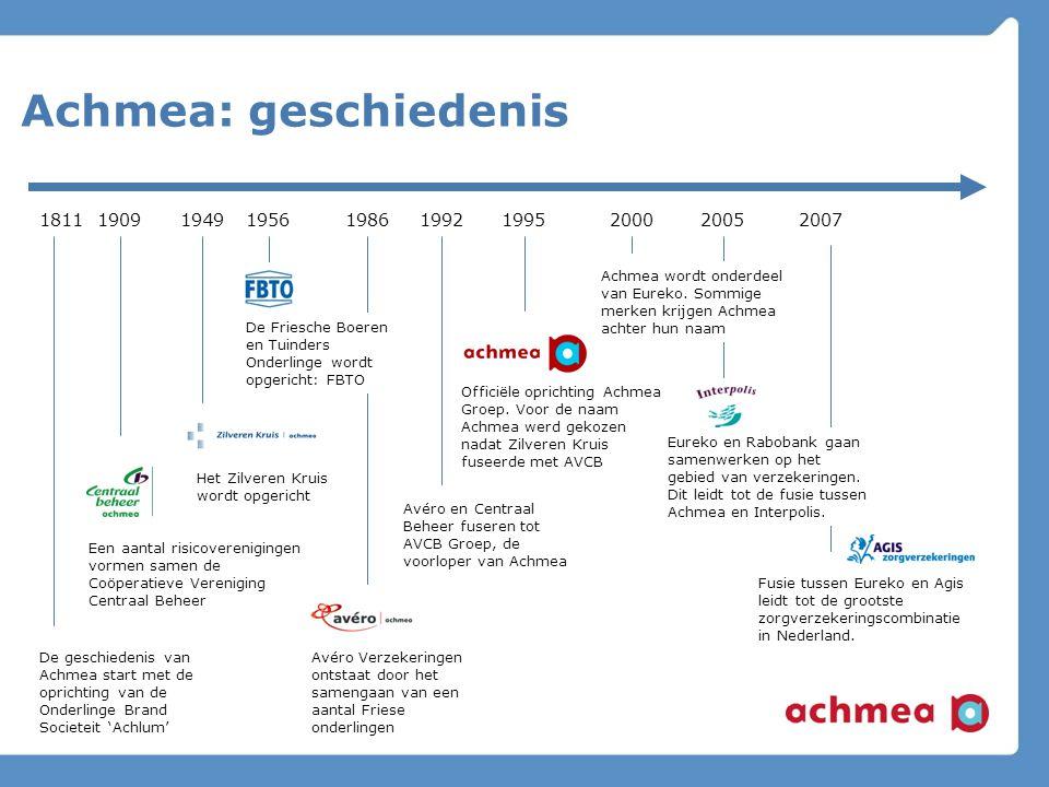 Achmea: highlights in cijfers 21 merken 23.000 medewerkers 8 kernlocaties in Nederland 2007: nettowinst € 979 miljoen Marktleider in verzekeren Maatschappelijk betrokken