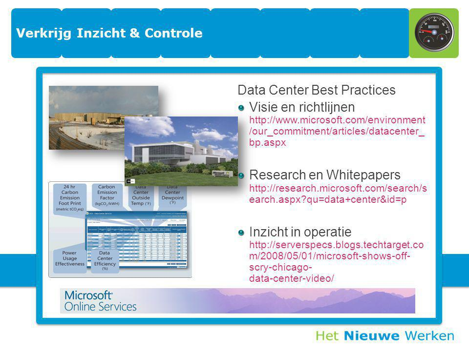 25 Verkrijg Inzicht & Controle Data Center Best Practices Visie en richtlijnen http://www.microsoft.com/environment /our_commitment/articles/datacenter_ bp.aspx Research en Whitepapers http://research.microsoft.com/search/s earch.aspx qu=data+center&id=p Inzicht in operatie http://serverspecs.blogs.techtarget.co m/2008/05/01/microsoft-shows-off- scry-chicago- data-center-video/