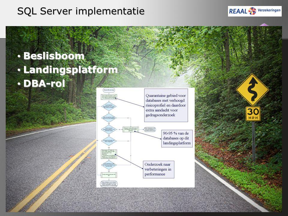 Beslisboom Beslisboom Landingsplatform Landingsplatform DBA-rol DBA-rol SQL Server implementatie