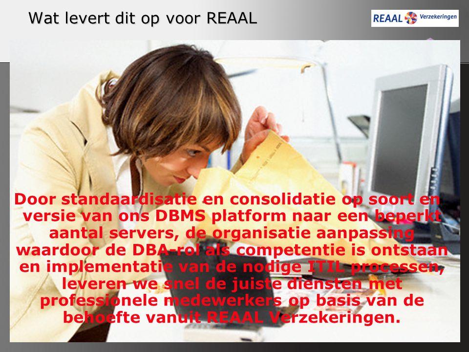 Wat levert dit op voor REAAL Door standaardisatie en consolidatie op soort en versie van ons DBMS platform naar een beperkt aantal servers, de organis