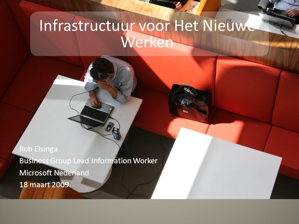 Rob Elsinga Business Group Lead Information Worker Microsoft Nederland 18 maart 2009 Infrastructuur voor Het Nieuwe Werken