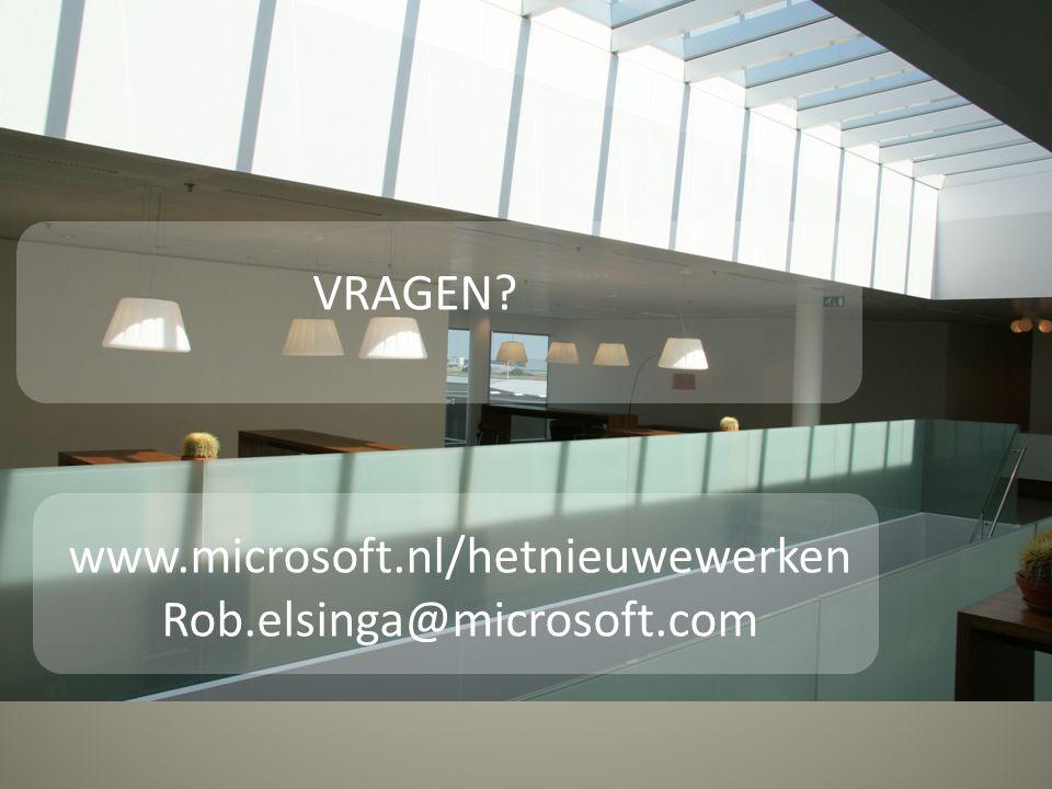 VRAGEN? www.microsoft.nl/hetnieuwewerken Rob.elsinga@microsoft.com