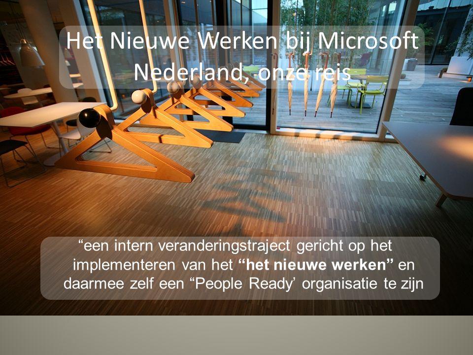 een intern veranderingstraject gericht op het implementeren van het het nieuwe werken en daarmee zelf een People Ready' organisatie te zijn Het Nieuwe Werken bij Microsoft Nederland, onze reis