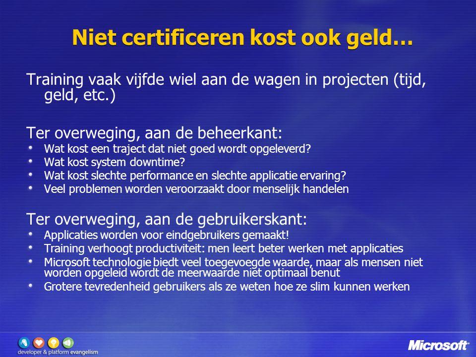 Niet certificeren kost ook geld… Training vaak vijfde wiel aan de wagen in projecten (tijd, geld, etc.) Ter overweging, aan de beheerkant: Wat kost een traject dat niet goed wordt opgeleverd.