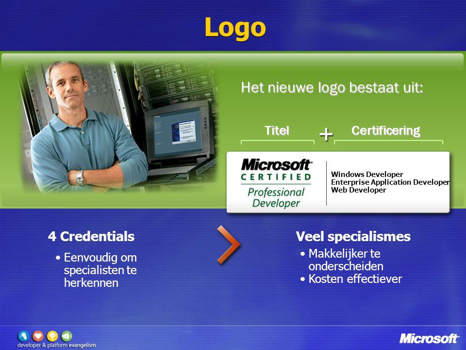 Logo Windows Developer Enterprise Application Developer Web Developer TitelCertificering Eenvoudig om specialisten te herkennen Makkelijker te onderscheiden Kosten effectiever Het nieuwe logo bestaat uit: 4 CredentialsVeel specialismes