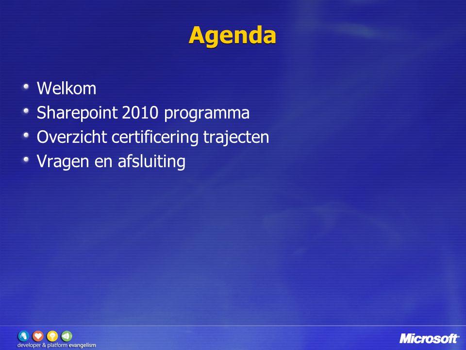 Agenda Welkom Sharepoint 2010 programma Overzicht certificering trajecten Vragen en afsluiting