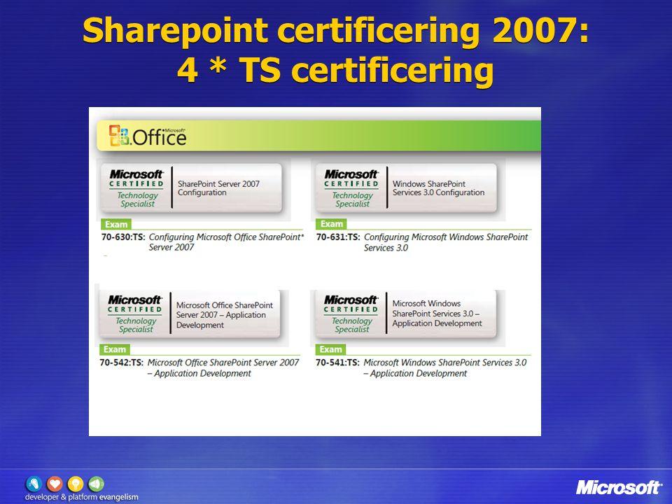Sharepoint certificering 2007: 4 * TS certificering