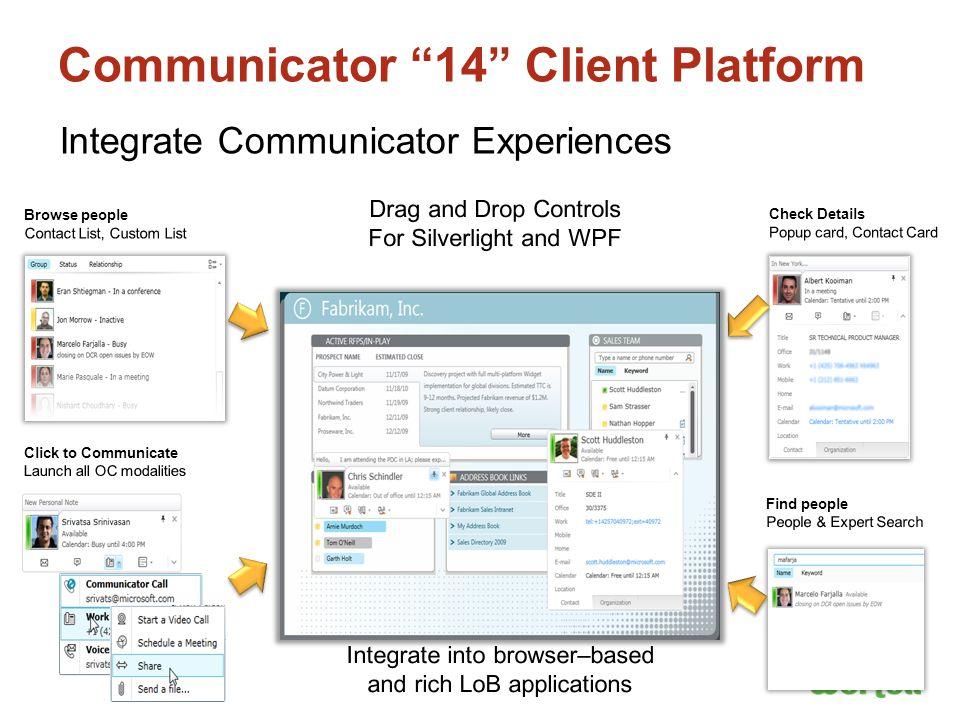 "Communicator ""14"" Client Platform Integrate Communicator Experiences"
