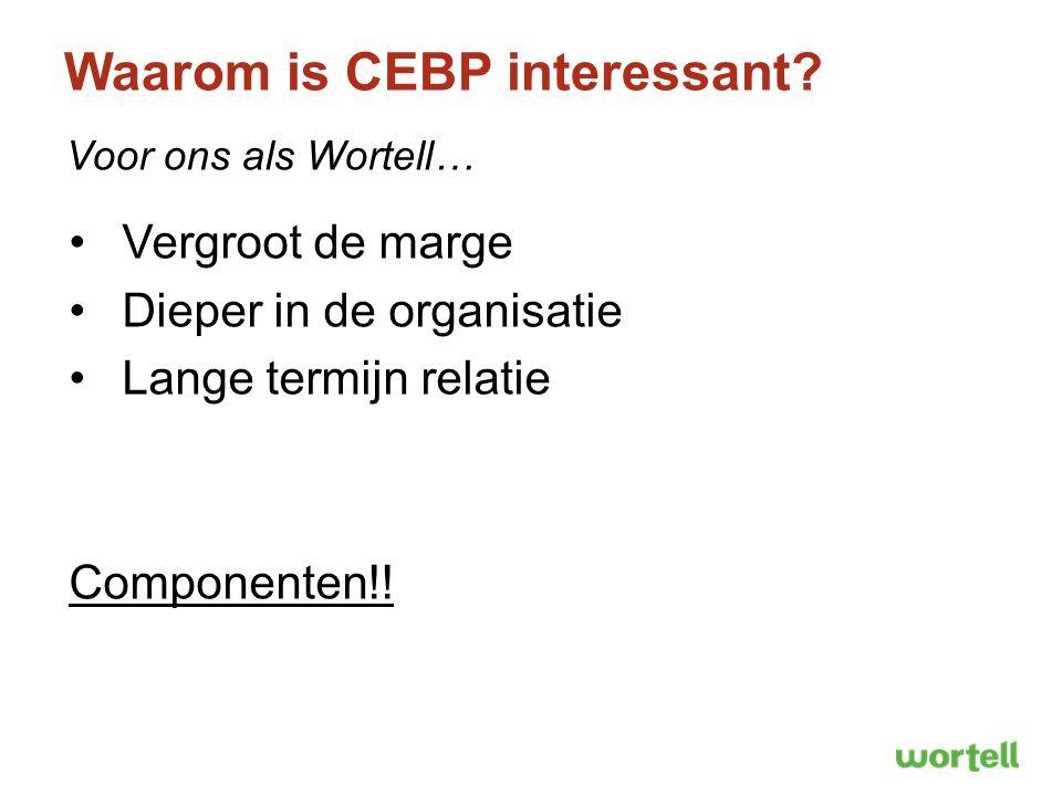 Waarom is CEBP interessant? Voor ons als Wortell… Vergroot de marge Dieper in de organisatie Lange termijn relatie Componenten!!