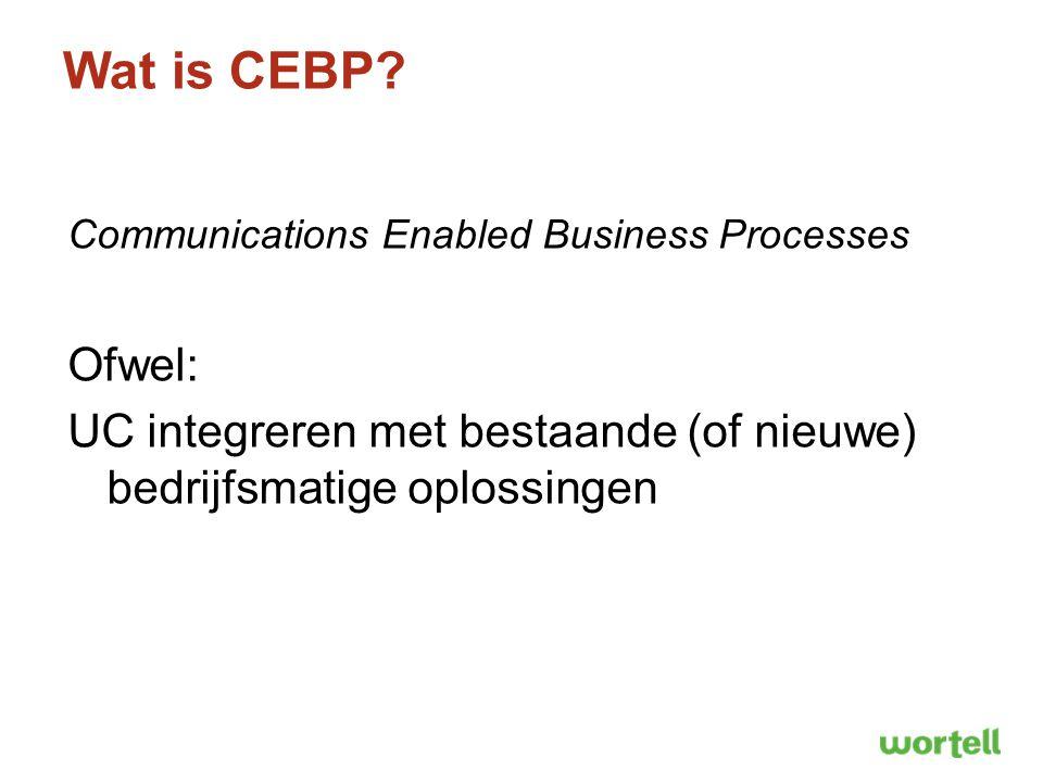 Wat is CEBP? Communications Enabled Business Processes Ofwel: UC integreren met bestaande (of nieuwe) bedrijfsmatige oplossingen