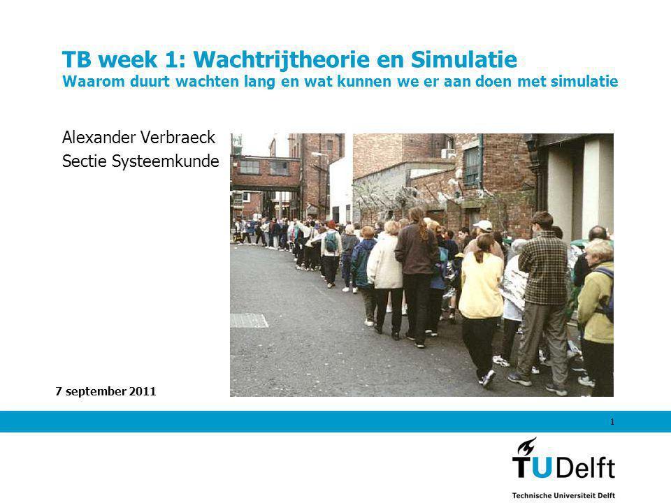 7 september 2011 1 TB week 1: Wachtrijtheorie en Simulatie Waarom duurt wachten lang en wat kunnen we er aan doen met simulatie Alexander Verbraeck Sectie Systeemkunde